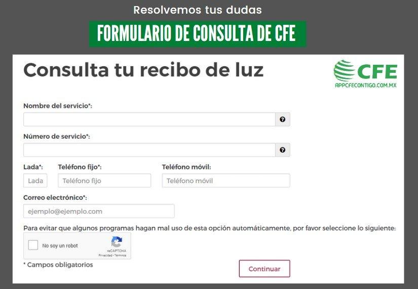 Formulario de Consulta de Recibo de Luz CFE