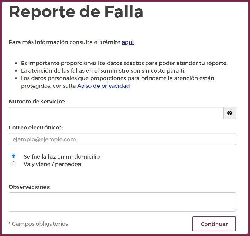 Formulario de CFE en línea para el reporte de luz.
